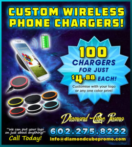 promo products screen printing embroidery custom apparel quality wireless charger cell phone iPhone samsung
