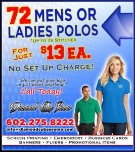 custom embroidery screen printing blank garments polo shirts promo items scottsdale arizona phoenix 85251 85008